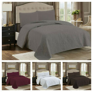 Bedspread Coverlet Quilt Set & Pillowcase Embossed Reversible Bedding Size K,Q,T