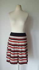 TU Red Cream Black Striped Pleated Skirt Size 16