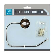 TOILET LOO ROLL PAPER HOLDER CHROME METAL WALL MOUNT MOUNTED BATHROOM