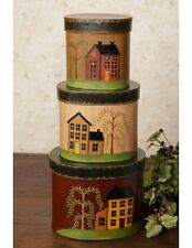 New Primitive Country Saltbox House Willow Tree Storage Nesting Stacking Boxes