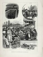 New York Lawrence Steeplechase Race at Rockaway Hunting Club 1880s Antique Print