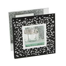 Black & Silver Butterflies Design Single Tealight Candle Holder
