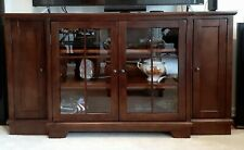 TV Media Cabinet Entertainment Center, Wood Glass Doors Cherry Walnut Color 72""