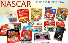 NASCAR LOT with vintage aluminum lidded butter tray dish watch cards race cars