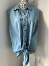 Monsoon Denim Sleeveless Shirt Tie Front Size 16