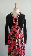 Women's Black/Pink Floral Long Dress Sz 14