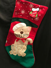 "Kitty Cat Christmas Holiday Stocking Snowflakes Embroidered Felt 18"" NWT"
