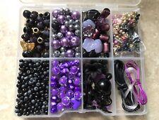 Negro/Oro y Kit de color púrpura de fabricación de joyas encantos perlas de vidrio hallazgos Nuevo