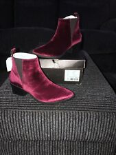LEVI'S GAIA Bordeaux Red Velvet Ankle Boots/shoes Chunky Heel  UK 4.5 - NEW