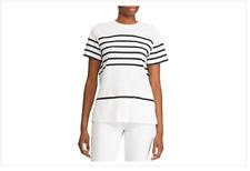 Lauren Ralph Lauren Womens XXS Mickelay Shirt Pullover Top Black White Buttons