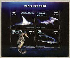 Peru 2017 Block Fische Rochen Hai Seepferdchen Hornhecht Shark Postfrisch MNH