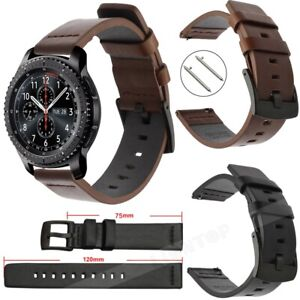 22mm 20mm Genuine Leather Band Quick Watch Strap Wristband Belt Black/Brown UK