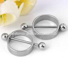 """Pair 16G Round Hoop Nipple Ring 5/8"""" Bar Barbell Stainless Steel Body Piercing"""