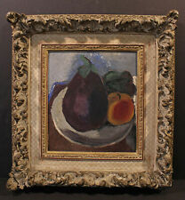 Early 20th Modernist Still Life Fogg Museum Harvard Label Eggplant Monogram E