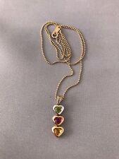 10k Solid Yellow Gold Citrine Garnet Peridot Diamond Pendant / Chain