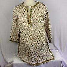 Anokhi Hand Block Print Boho Women S Shirt India Green Top Tunic Floral New