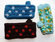 Handschuhe Pulswärmer türkis blau braun Schafwolle 100% Wolle, Fleece Futter