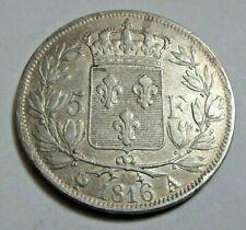 More details for 1816 king louis xviii silver 5 francs paris mintmark