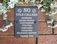No Cold Callers Sales Etc Natural Slate Gate Wall Door Plaque Sign 13cm x 17cm