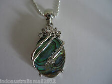 Natural Abalone Paua Shell Pendant with Rhinestones with Necklace (E001)