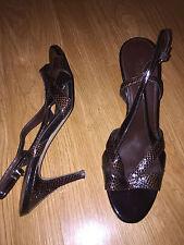 FRANCO SARTO 10 M Brown Faux Reptile Patent Slingback Strappy Sandal Heels