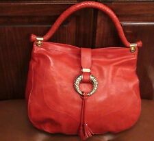 Authentic Jimmy Choo Ruby/Red Leather Hobo Bag Purse handbag Woven handle Tassel