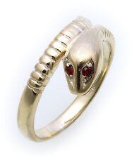 ANELLO SERPENTE IN VERO ORO 333 con rubino Anello serpente oro giallo unisex