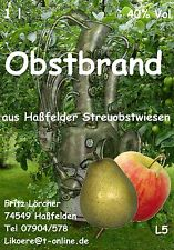 OBSTBRAND 5x 1,0 l 40 % Apfelschnaps Birnenschnaps Obstler
