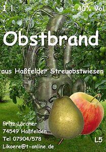 OBSTBRAND 10x 1,0 l 40 % Apfelschnaps Birnenschnaps Obstler Klarer