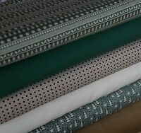 5  Fat Quarter Christmas Green Scandi Colours Fabric Bundle 100% Cotton Craft