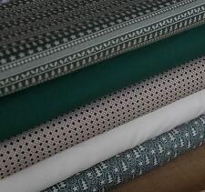 5  Fat Quarter Christmas Green Scandi Colours Fabric Bundle 100% Cotton Craft