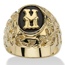14K GOLD ONYX LETTER M INITIAL NUGGET RING SIZE GP 8 9 10 11 12 13