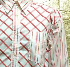 Mens Dress Shirt Size XL Button Down Long Sleeve White Pink Plaid Stripes