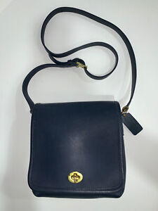 Coach Vintage Leather Companion Flap Blue Brass 9076 Crossbody Shoulder Bag