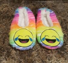 JUSTICE GIRLS LAUGHING CRYING EMOJI SLIPPERS SIZE SMALL 1-2