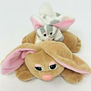 VTG 1995 POUND BUNNIES Plush Lot of 2 Rabbits Tan Mom & Gray White Mini Baby