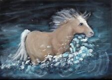 5x7 inch small Orig Art Oil painting Portrait Equine Horse Equestrian River Hart
