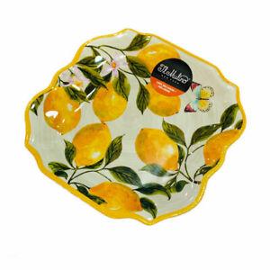 IL Mulino Lemons Lemon Tree Floral Butterfly Melamine Dinner Plates Set of 4