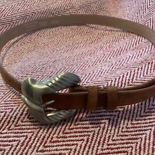 Vintage Taupe Suede Belt Accessories by Pearl Large Silver Buckle 9032