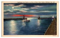 Mid-1900s Lighthouse & Foghorn on Piers, Outer Harbor, Michigan City IN Postcard