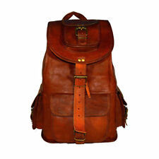 Real genuine men's leather backpack bag satchel Travel laptop brown vintage