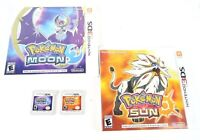 Pokemon Sun and Pokemon Moon (Nintendo 3DS) Complete Set ~ Tested ~Authentic!