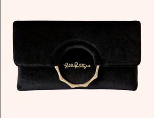 """NWT $138 LILLY PULITZER """"Malindi"""" Black Onyx Velvet Clutch BAG"""