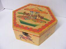Polonaise Collection Kurt Adler Carousel Print Hexagon Wooden Box Display  VGC