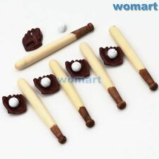 Dollhouse Miniature 5sets 1:12 Mini baseball bat glove  Scene Model Accessories