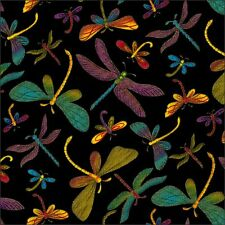 Dragonfly With Gold On Black Cotton Fabric Timeless Treasures By The Half Metre