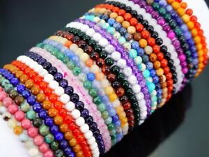 Handmade 4mm Mixed Natural Gemstone Round Beads Stretchy Bracelet Reiki Chakra