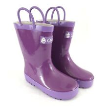 Oakiwear Toddler Girls Rain Boots Rubber Solid Purple Size 9