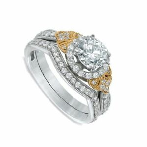 4.12 ct Simulated Diamond Three Stone Bridal Set Ring In Solid 10K White Gold