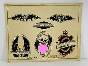 VTG Original 70's tattoo Flash 21 Harley Davidson Motorcycle Eagle Spaulding WOW